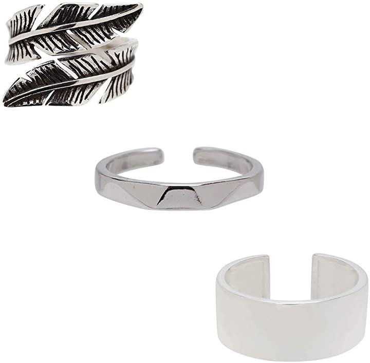 指輪 メンズ フリーサイズ リング シルバー925 SILVER925(セット5)