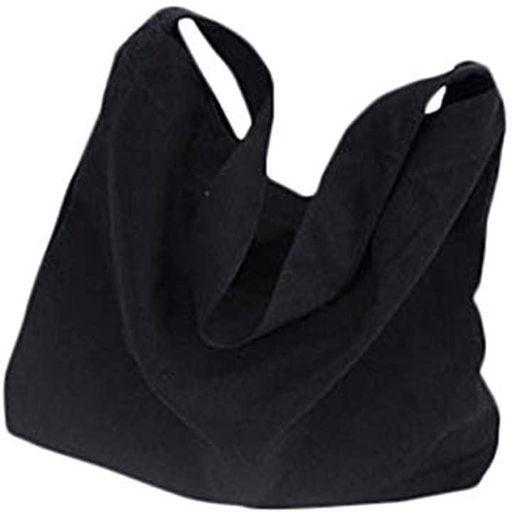 ユーミート 帆布バッグ キャンバス トート ショルダー ざくざく 収納 大容量 A4 トートバッグ 大・黒(6.大_ブラック)