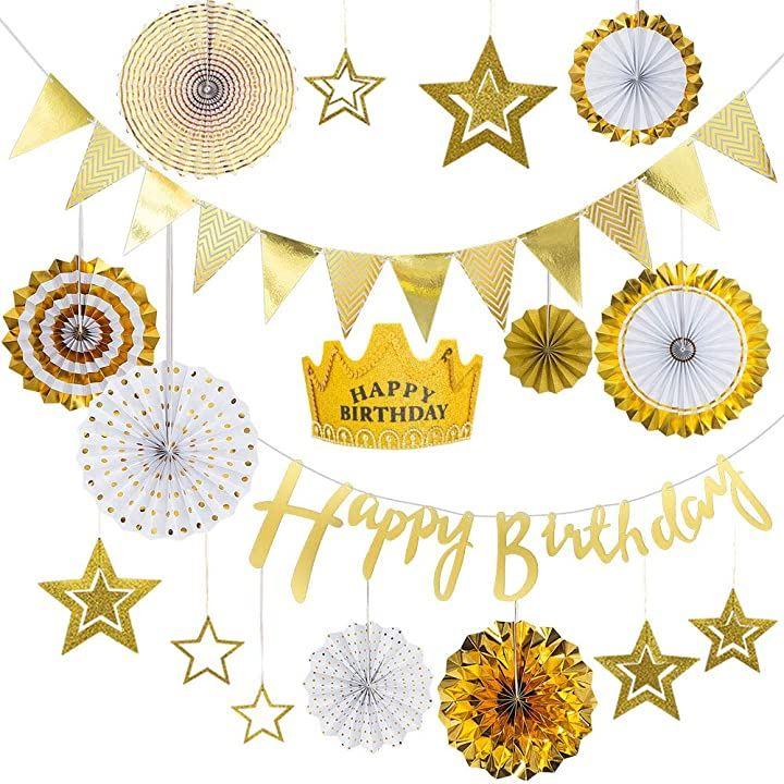 誕生日 飾り付け バルーン 風船 ガーランド happy birthday 大 人気 デコレーションセット ゴールド紙製ファン付きセット