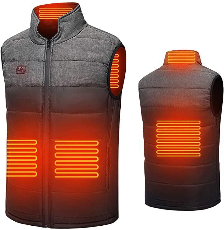 2020最新電熱ベスト加熱ベスト ヒートジャケット 超軽量 USB充電式 加熱服 ダブルスイッチ 前後独立温度設定可能 3段階温度調整 保温 防寒 臭くない 水洗い可能 スキー 登山 釣り バイクツーリング 通勤通学(ブラック, 2XL)