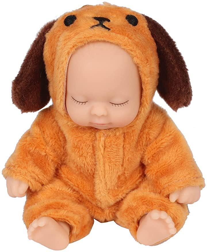 赤ちゃん人形 リボンドール キーホルダー ミニチュア リアル ベビー コレクション ブラウン(犬 ブラウン)
