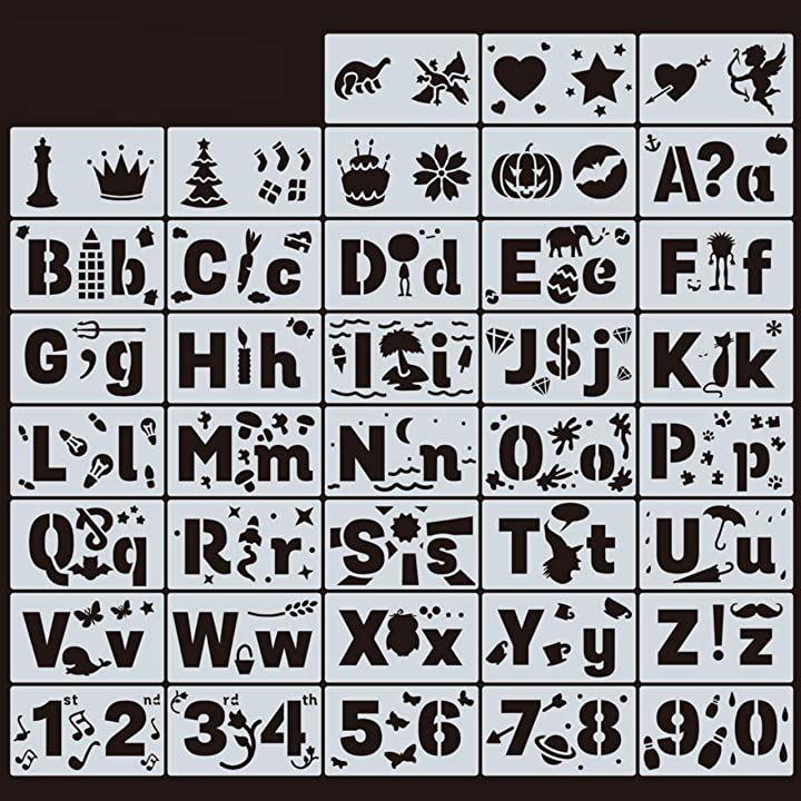 アルファベットテンプレート ステンシルシート ステンシルプレート テンプレート定規 数字 文字(アルファベット)