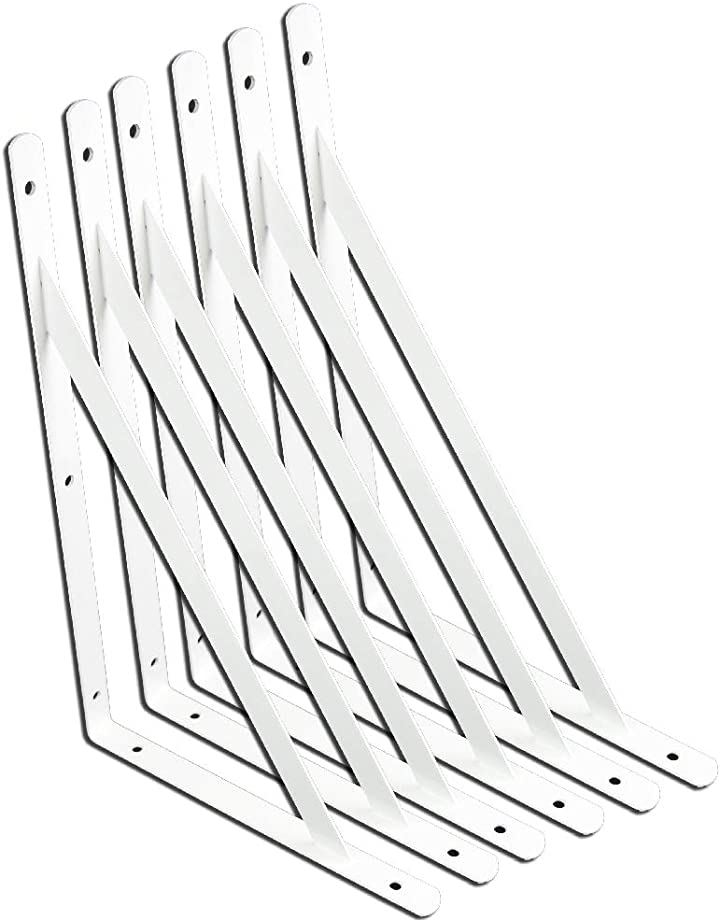 棚受け金具 L字型 6本セット ブラケット 棚づくり DIY 300mm*190mm ホワイト(ホワイト, 300mm*190mm)