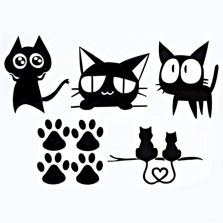 猫 ステッカー ねこ シール 車 カーアクセサリ(ブラック5枚セット)