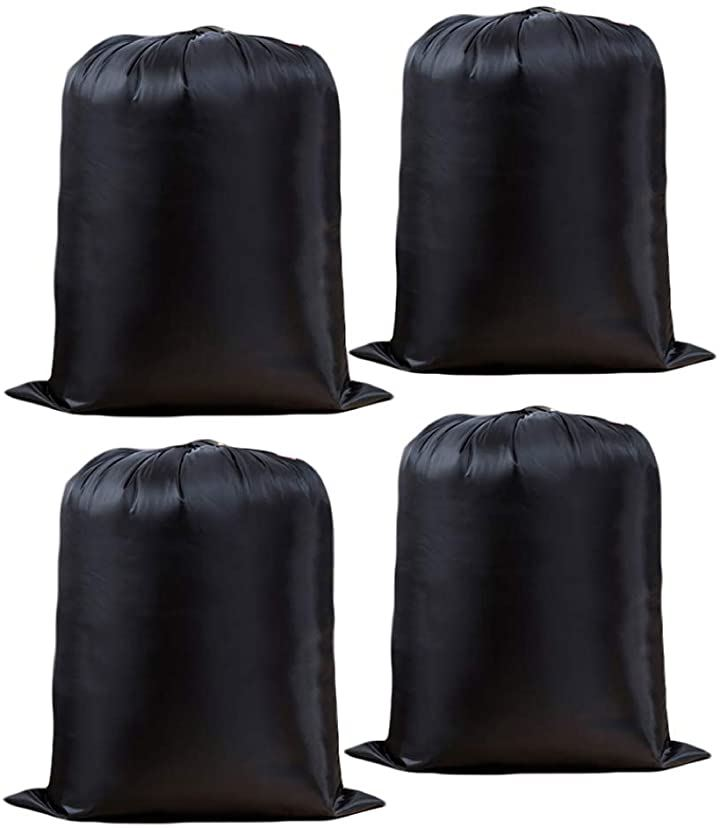 ランドリーバッグ 無地 黒 特大 旅行 洗濯物 折り畳み 携帯 大容量 ナイロン 丈夫 出張 4枚セット