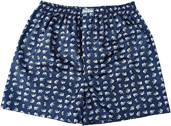 タイシルクトランクス 象柄 肌着 下着 パンツ まとめ買い 4枚セット XL(ブラック, XL)