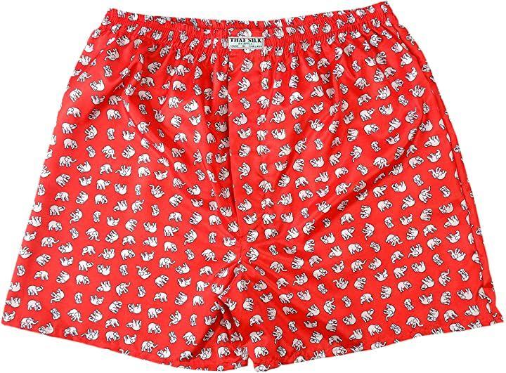 タイシルクトランクス 象柄 肌着 下着 パンツ まとめ買い 4枚セット 赤 XL(レッド, XL)