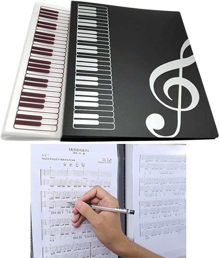 楽譜 クリアファイル 白黒2種 & 4ページ 筆記可能 の3セット同梱 A4 見開き クリアホルダー 収納(A4クリアファイル白黒2種&4ページ筆記可能)