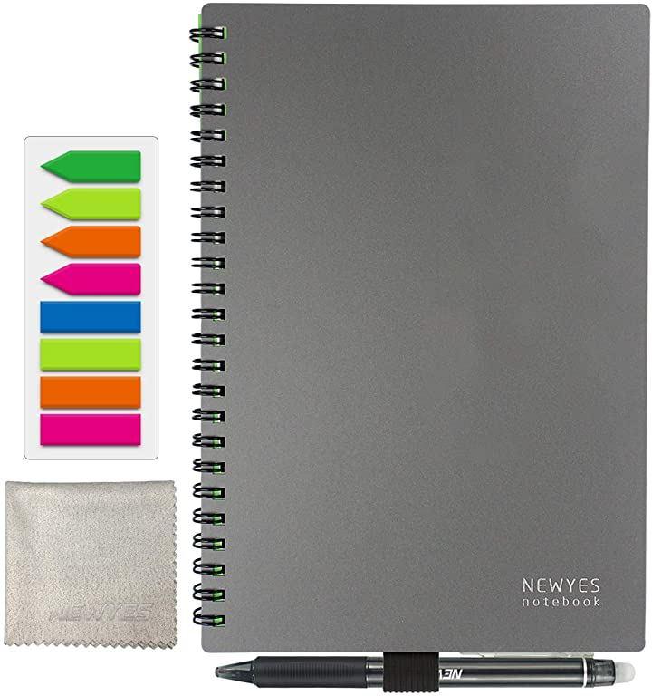 スマートノートA5 書いてもすぐ消せる メモ帳 データ化できる デジタルノート 繰り返し使える 付箋 消せるペン付き(A5灰(罫線+ドット方眼), A5)