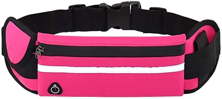 ウェストバッグ ウエストポーチ フィットネス用品 ボトルホルダー 防水 大容量(ピンク)
