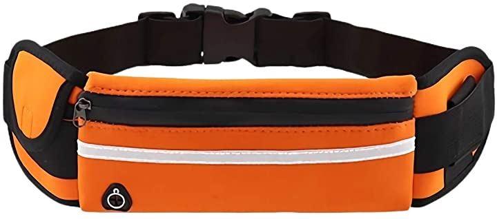 ウェストバッグ ウエストポーチ フィットネス用品 ボトルホルダー 防水 大容量(オレンジ)