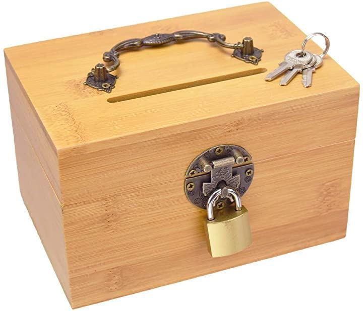 ルミエール・エタンセルボックス貯金箱 鍵付き 竹製 お札 折らずに投入 持ち手付き 50万円貯金