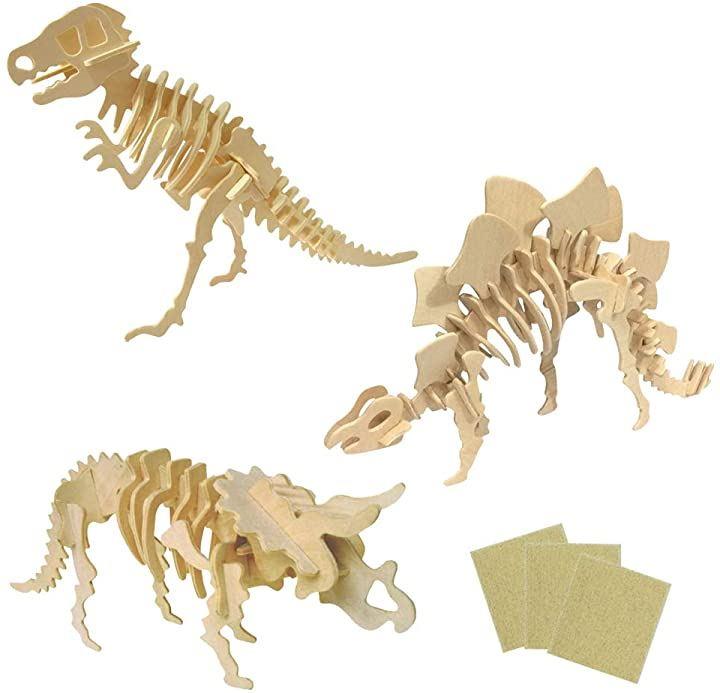 木製恐竜 骨格模型 工作キット ティラノサウルス ステゴサウルス トリケラトプス