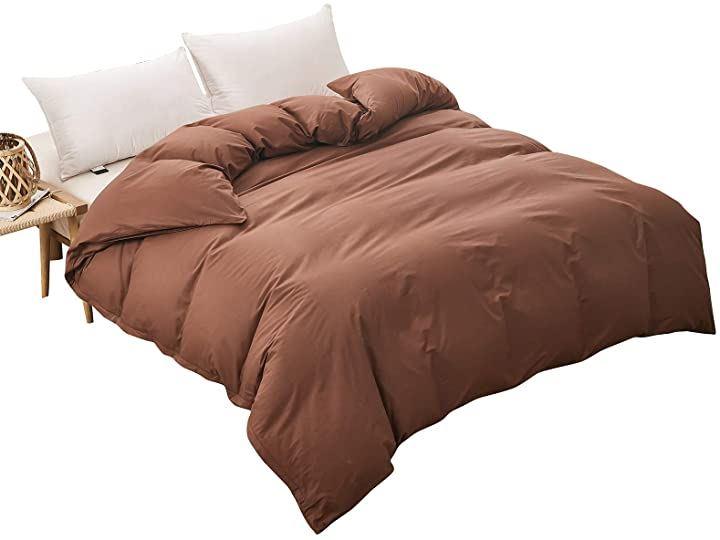 かけ布団カバー 綿100% ブラウン セミダブル 夏すずしい 冬あったかい 170x210cm(ブラウン, セミダブル:170x210cm)