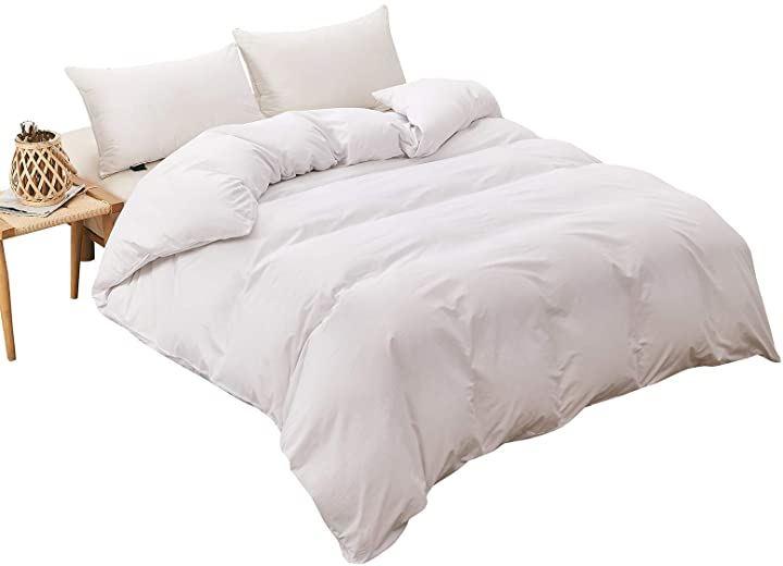 かけ布団カバー 綿100% ホワイト ダブル 190x210cm(ホワイト, ダブル:190x210cm)
