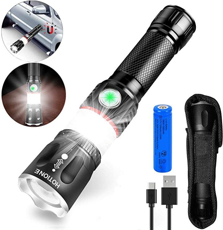 懐中電灯&ランタン2in1 led 充電式 ハンディライト usb充電式 高輝度 フラッシュライト 4モード ズーム機能 防水 防災 停電対策 アウトドア ケース付き