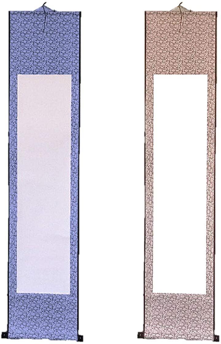 掛け軸 2本セット 白紙 無地 和紙 習字紙 書道 巻物 水墨画 日本画 水書道 展示会