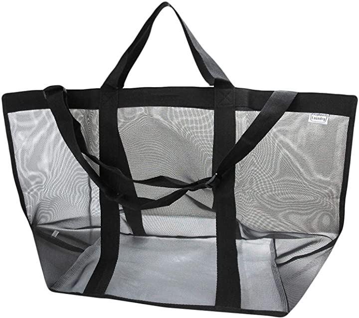 ランドリーバッグ 洗濯物入れ 洗濯かご トートバッグ ショルダー(ブラック)