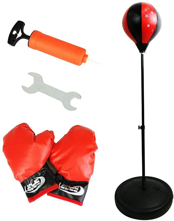 ボクシングセット パンチングボール 子供用 グローブ 練習 トレーニング 高さ調節可能 簡単組立 空気入れ付属