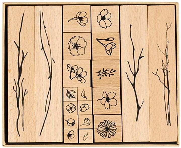 花 木 スタンプ ゴム印 20個 判子 ハンコ 可愛い かわいい スタンプセット スクラップブッキング イラスト おしゃれ