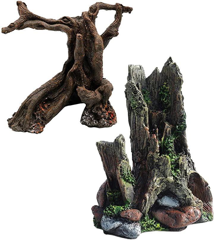 爬虫類アクアリウム 樹脂流木 ウェットシェルター テラリウム セット 飼育ボックス 木の穴 水槽の造園