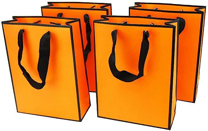 おしゃれギフトバッグ 紙袋 ショッピングバッグ 手提げ袋 厚手 高級感 ラッピング 4枚 オレンジ(4枚 オレンジ)