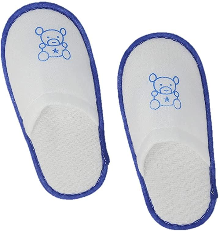 子ども用 キッズ 使い捨て スリッパ 15足 セット 不織布 個包装 かわいい くま ブルー:キッズ用(ブルー:キッズ用 15足)