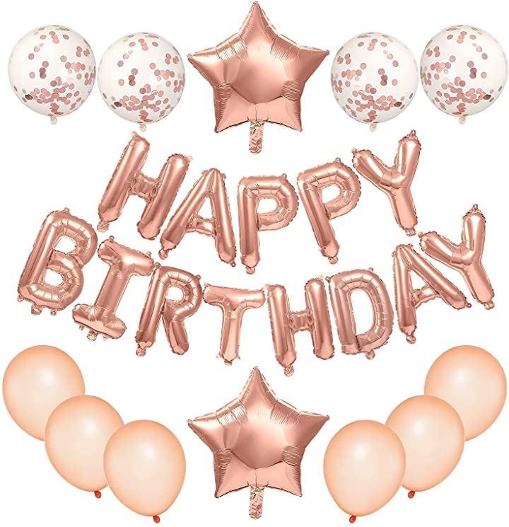 誕生日 風船 飾り付けセット Happy Birthday文字 可愛い紙吹雪風船 パーティー 大人 子供 お祝いバルーン 27点セット