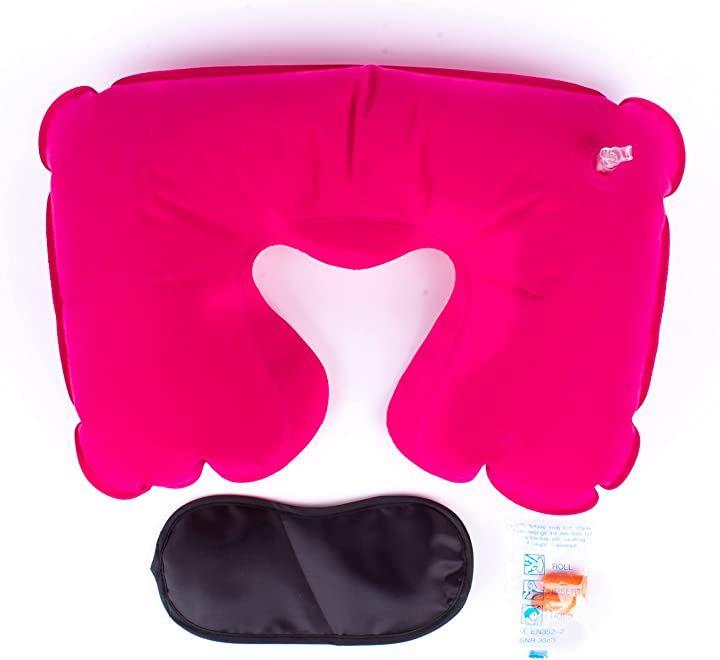 U字型のインフレータブル枕 6色セット・アイマスク・耳栓セット 旅行 仮眠