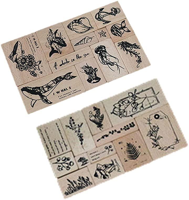 木製ゴム印 2種類 合計24個セット 花のスタンプ 鯨 クリエイティブスタンプセット 手帳用 動物 ナチュラル