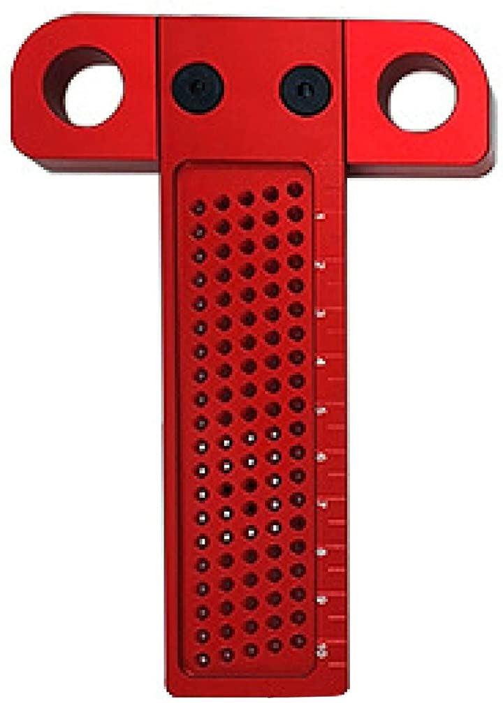 T型定規 T260 ガイドルーラー DIY 工具 1mm 穴間隔 アルミ製 穴位置定規 T100,(赤, T100)