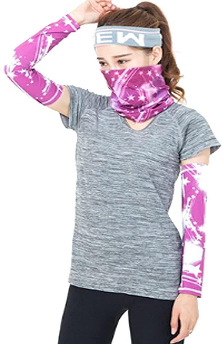 UVカット アームカバー フェイスガードセット 日焼け防止 ジョギング 自転車 アウトドア 男女兼用(01.ピンク)