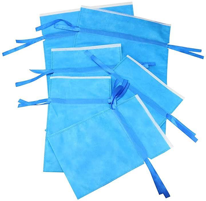 プレゼント用 ラッピング袋 巾着タイプ 不織布 シンプル 無地 リボン 3サイズ 6枚セット,(ブルー, 6枚セット)