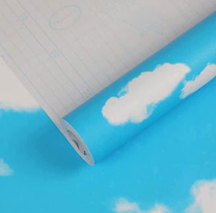 マローサム 貼って剥がせる 壁紙 カッティング シート ウォール ステッカー 粘着 花柄 45cm x 10m 雲 青空(雲(青空))