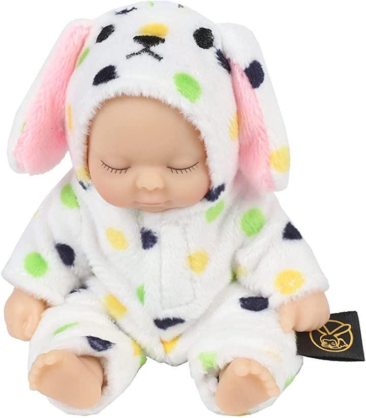 赤ちゃん人形 リボンドール キーホルダー ミニチュア リアル ベビー コレクション(ドットドッグ)