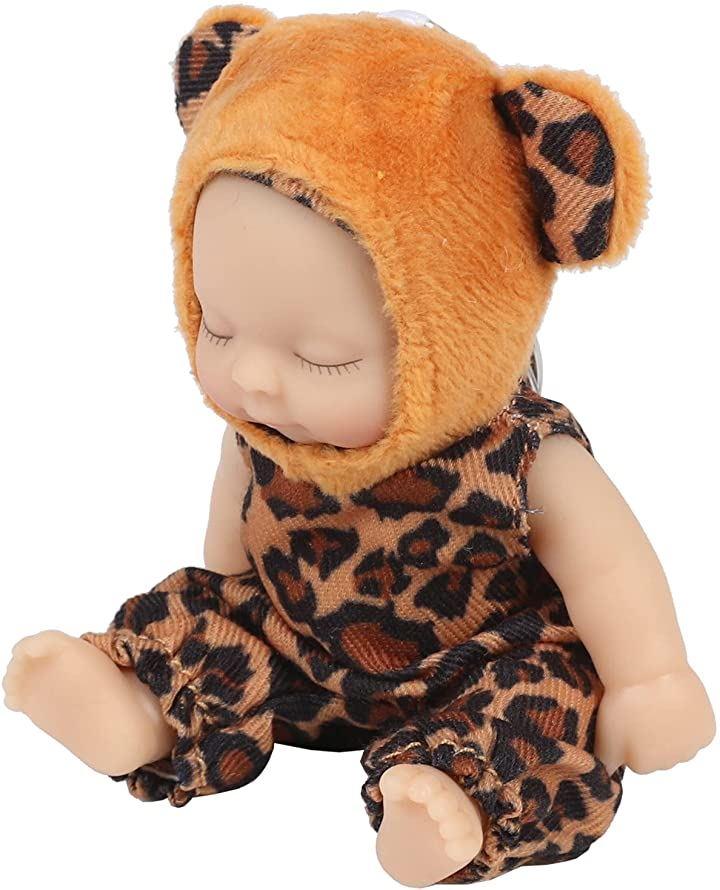 赤ちゃん人形 リボンドール キーホルダー ミニチュア リアル ベビー コレクション(ヒョウ)