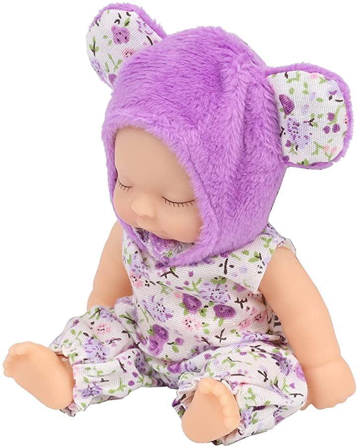 赤ちゃん人形 リボンドール キーホルダー ミニチュア リアル ベビー コレクション(紫熊)