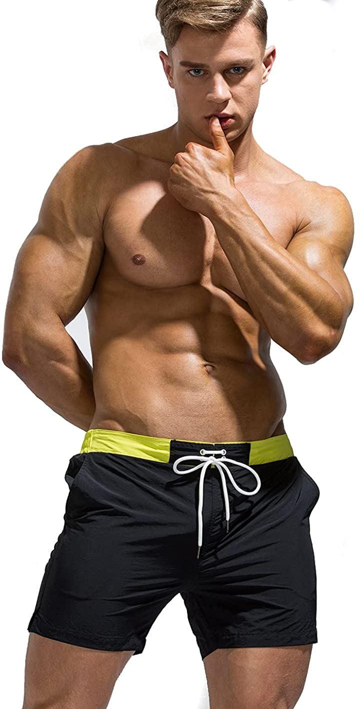 サーフ パンツ 丈短め 人気 オシャレ 水着 ビーチ 海パン ショート 腰パン ショーツ ブラック メンズ XL(ブラック, XL)