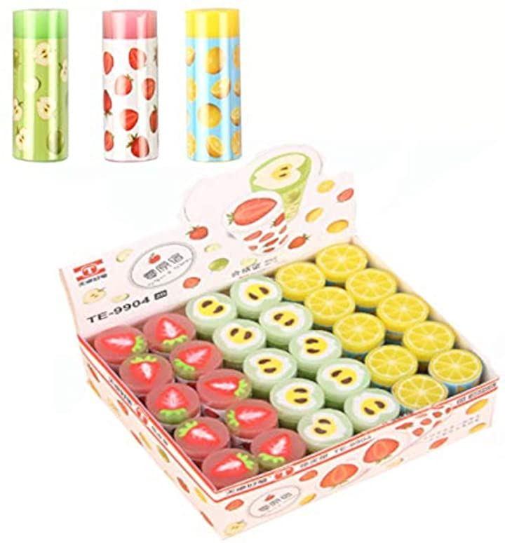 フルーツ 消しゴム 文房具 景品 誕生日 プレゼント 30個セット(黄色 緑色 桃色 各10個)