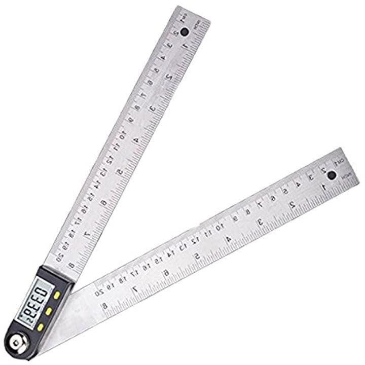 デジタル 角度計 20cm 30cm ステンレス鋼 定規 ホールド 長さ 測定 防水 IP54 生活防水 360度 分度器(サイズ:20cm)