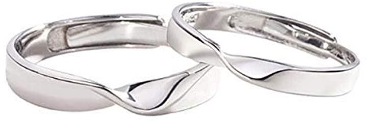 ペアリング 2個セット フリーサイズ クリスマス ギフト 箱付き シルバー 指輪 婚約指輪 結婚指輪(A)