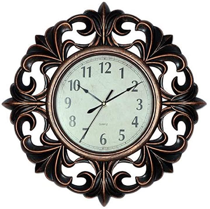ウォールクロック 壁掛け 時計 アンティーク 西洋 モダン デザイン おしゃれ かっこいい(ブロンズ, 縦25.4cm x 横25.4cm x 厚さ3.2cm)