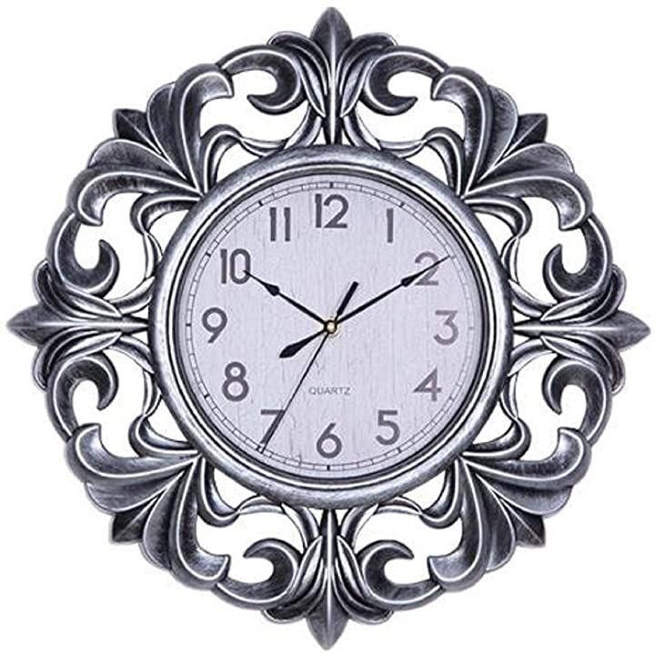 ウォールクロック 壁掛け 時計 アンティーク 西洋 モダン デザイン おしゃれ かっこいい(シルバー, 縦25.4cm x 横25.4cm x 厚さ3.2cm)