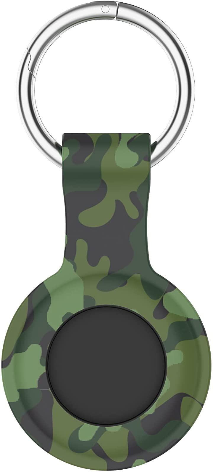 AirTag ケース シリコン キャンプグッズ 盗難防止 保護 軽量 薄型 迷彩 AirTag対応保護カバー(迷彩グリーン)