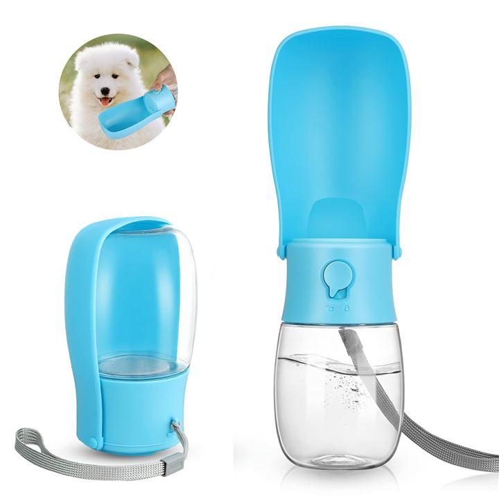 ウォーターボトル 犬 散歩 水筒ペット おでかけ トレーニング(ブルー, M)