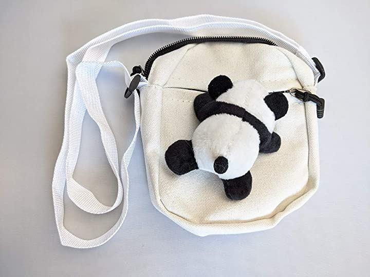 ショルダーバッグ パンダ ぬいぐるみ スモール ミニ ポーチ ポシェット 斜めがけ(ホワイト)