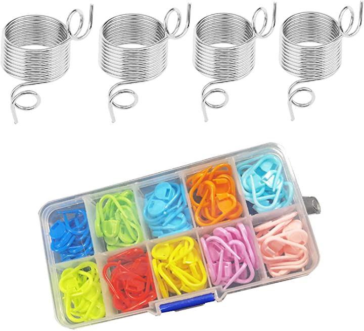 指ぬき 編み物 毛糸ガイド 2サイズ 4個と段数マーカー 収納ケース付き 10色 120枚セット