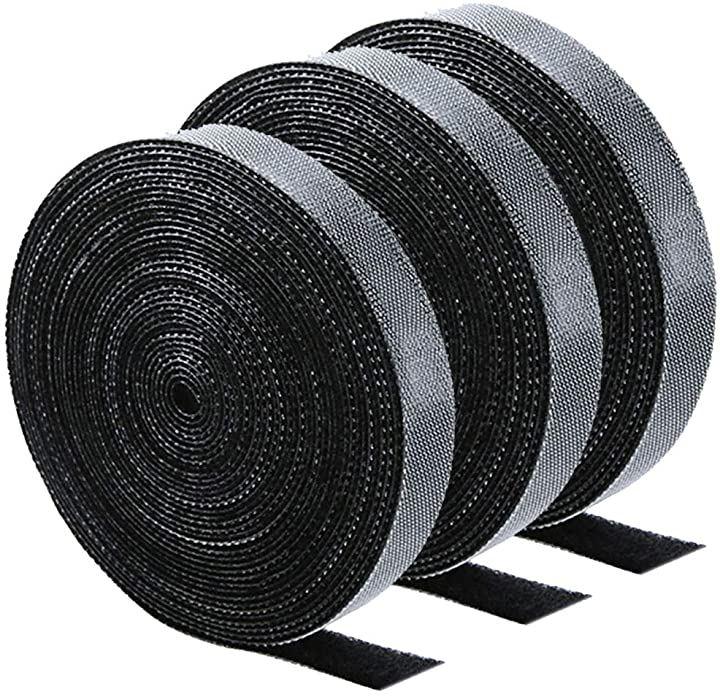 ケーブルオーガナイザー 17フィート 約5m 3ロール ケーブルタイ ブラック