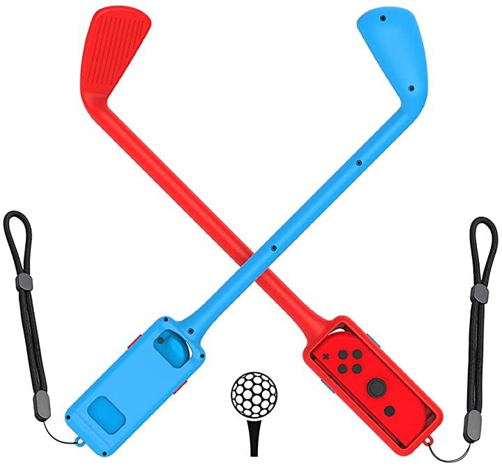 Switch 対応 ゴルフロッド 2個セット Joy-Con用 グリップ 軽量 装着簡単 落下/紛失防止 ロープ付き 赤&青(RED,BLUE)
