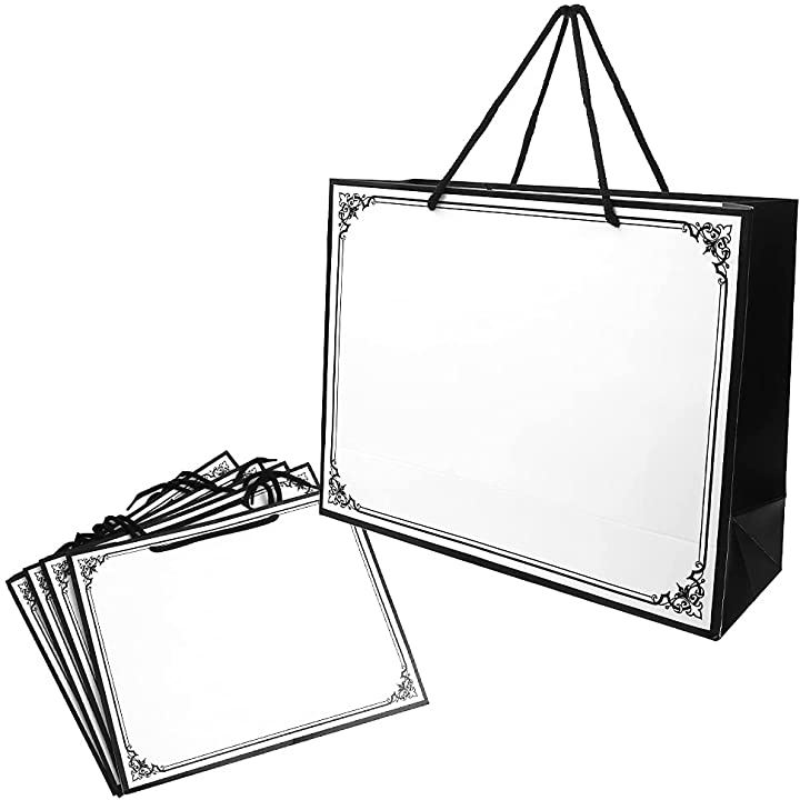 シックデザイン ギフトバッグ 手提げ袋 頑丈 厚手 型崩れしにくい ワイドタイプ 5枚(ホワイト)
